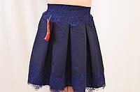 Нарядная школьная юбка в складку с кружевом, р.122-152