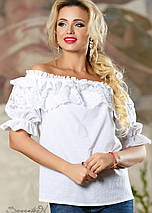 Нежная женская блуза с оборками и кружевом (2163-2162-2160 svt), фото 3