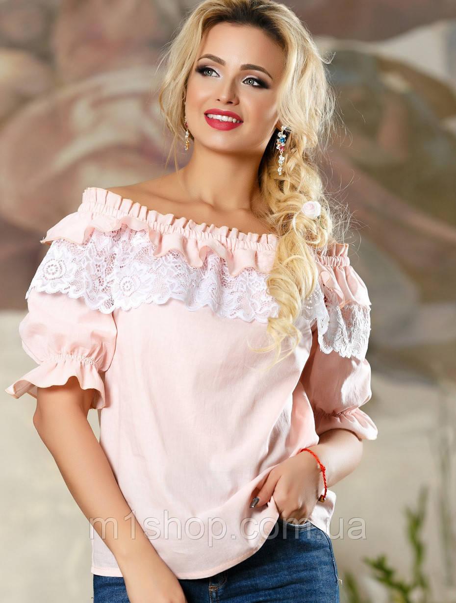 Нежная женская блуза с оборками и кружевом (2163-2162-2160 svt)