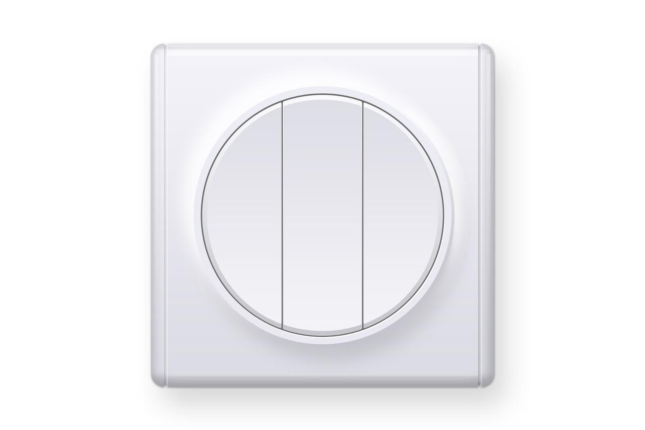 Вимикач потрійний, колір білий (серія Florence), фото 1