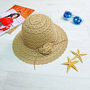 Шляпа с цветком коричневая 502-01-1