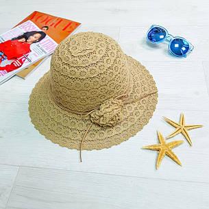 Шляпа с цветком коричневая 502-01-1, фото 2