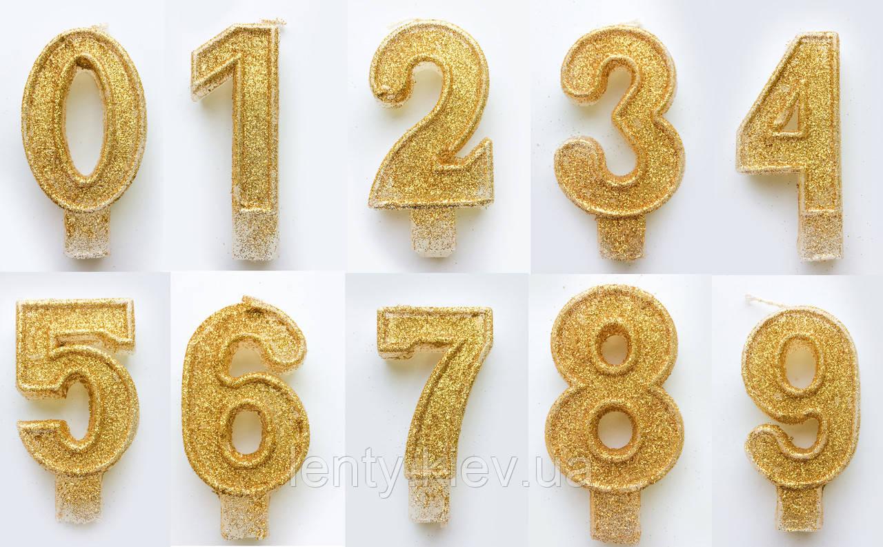 Свеча цифра тортовая с блестками Золото -