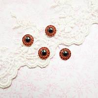 Глазки для кукол пластиковые,  глазное яблоко, коричневые - 10 мм