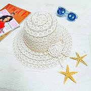 Шляпа с цветком бежевая 502-01-2