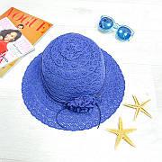 Шляпа с цветком синяя 502-01-3