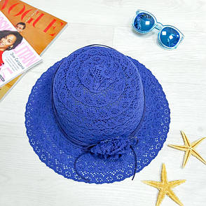 Шляпа с цветком синяя 502-01-3, фото 2