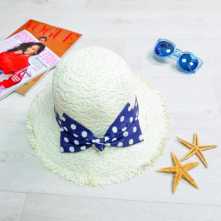 Шляпа с синим бантом в горошек  502-02-1