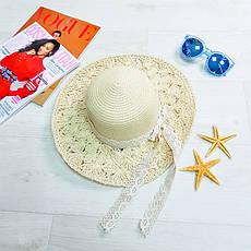 Шляпа бежевая с гипюровой лентой 502-03-1, фото 2