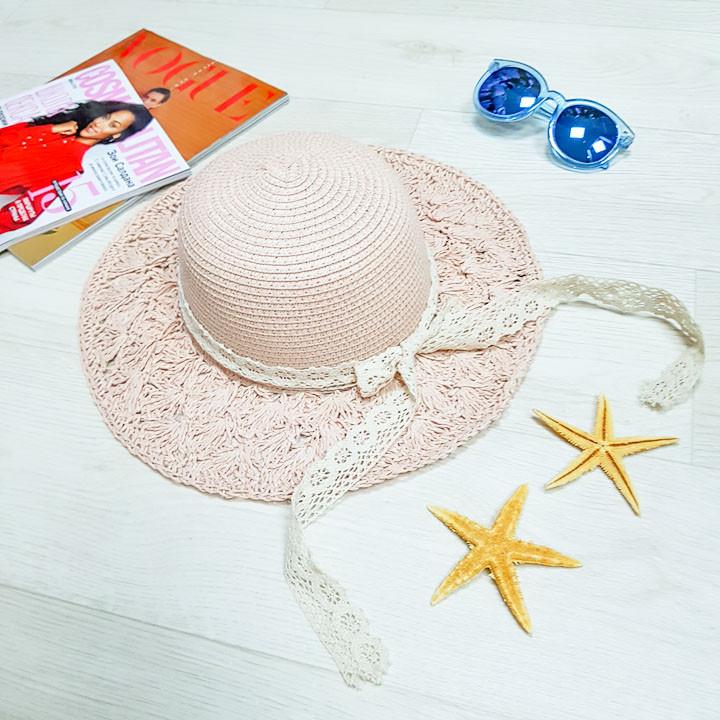Шляпа розовая с гипюровой лентой 502-03-2