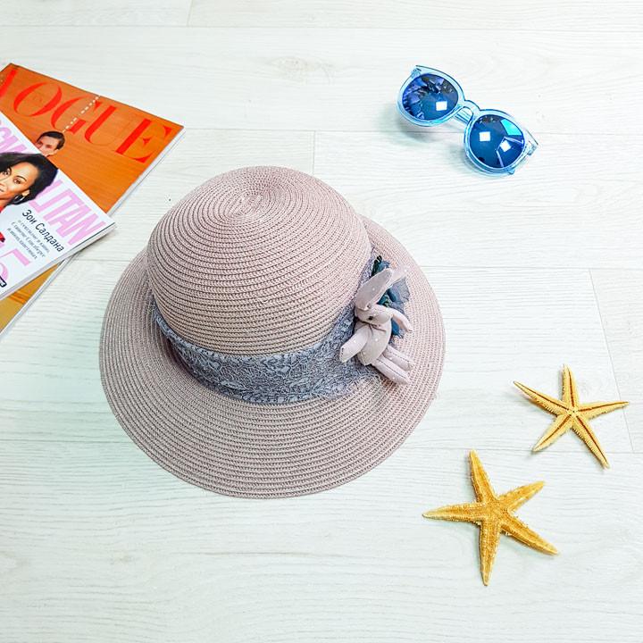 Шляпа детская с зайчиком розовая 502-05-1