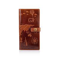 """Красивый тревел-кейс с натуральной кожи цвета глины с художественным тиснением """"7 wonders of the world"""""""