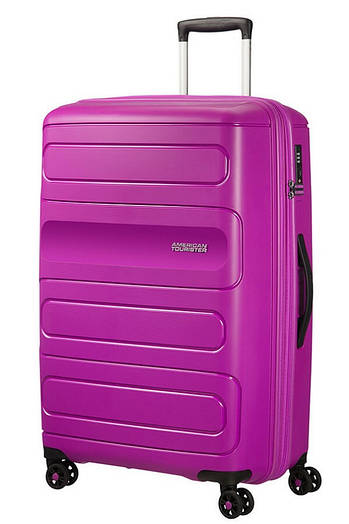Большой пластиковый чемодан на 4-х колесах American Tourister Sunside