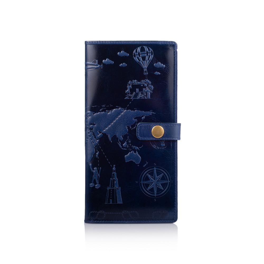 """Голубой тревел-кейс с натуральной глянцевой кожи с художественным тиснением """"7 wonders of the world"""""""