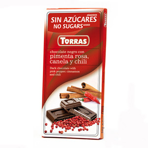 """Черный шоколад c корицей и перцем чили """"Torras"""", 75 г"""