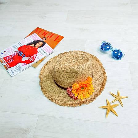 Шляпа коричневая оранжевый цветок 502-06-2, фото 2