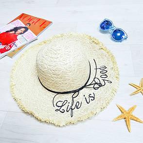 """Шляпа """"Life is good"""" большие поля 502-08, фото 2"""