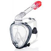Маска полнолицевая для плавания и ныряния Aqua Speed Prism (original) бело-серая, комплект с трубкой