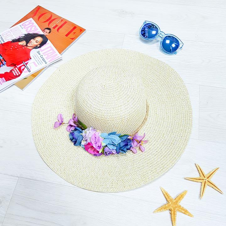 Шляпа большие поля букет белая 502-09-2