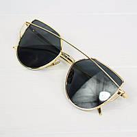 Очки женские солнцезащитные Dior Monster черные в золотой оправе, фото 1