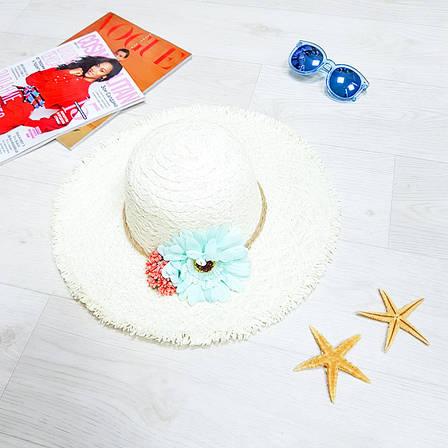 Шляпа белая голубой цветок 502-10, фото 2