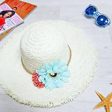Шляпа белая голубой цветок 502-10, фото 3