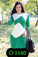 Платье осеннее с рукавом мятное