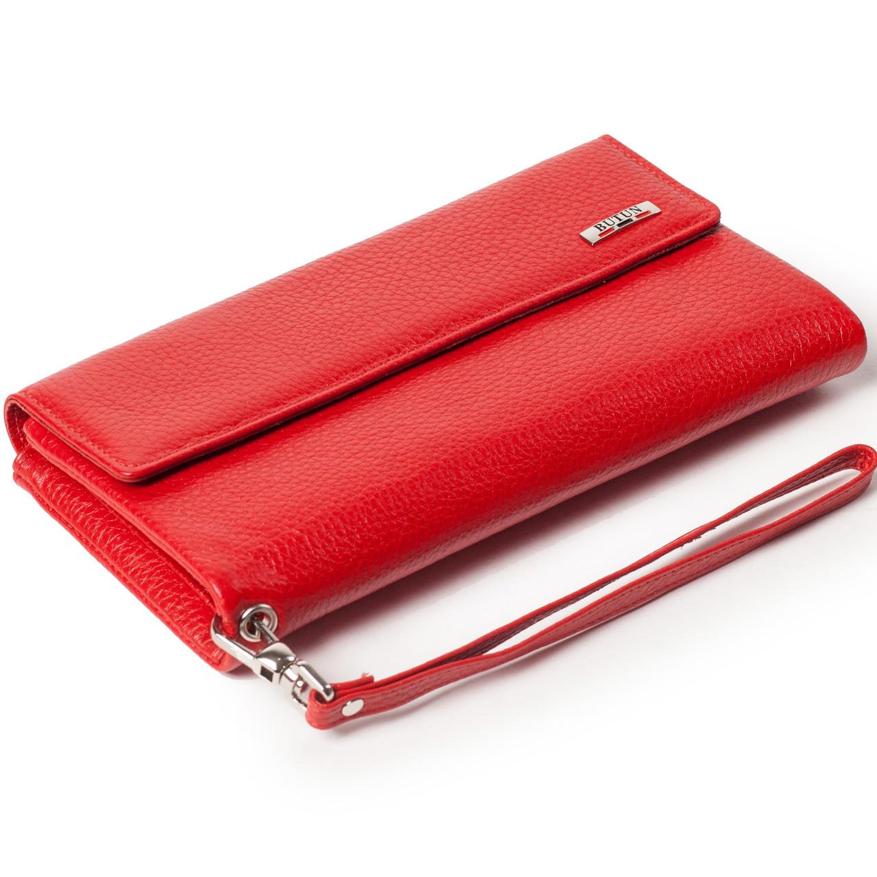 Женский кошелек клатч кожаный красный BUTUN 624-004-006