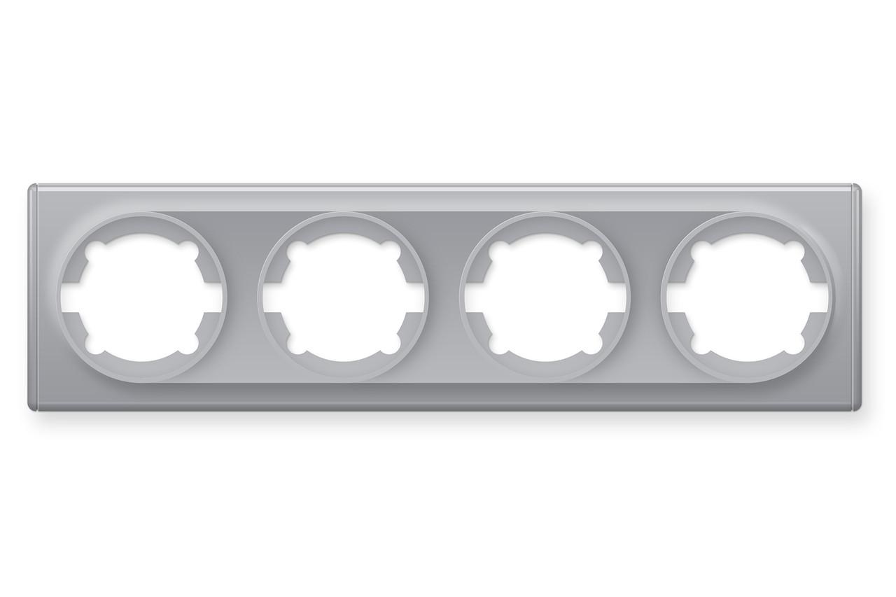 Рамка на 4 прилади, колір сірий (серія Florence)