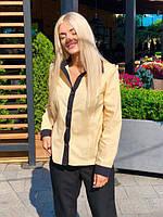 Рубашка женская из поплина с длинным рукавом (К23497), фото 1