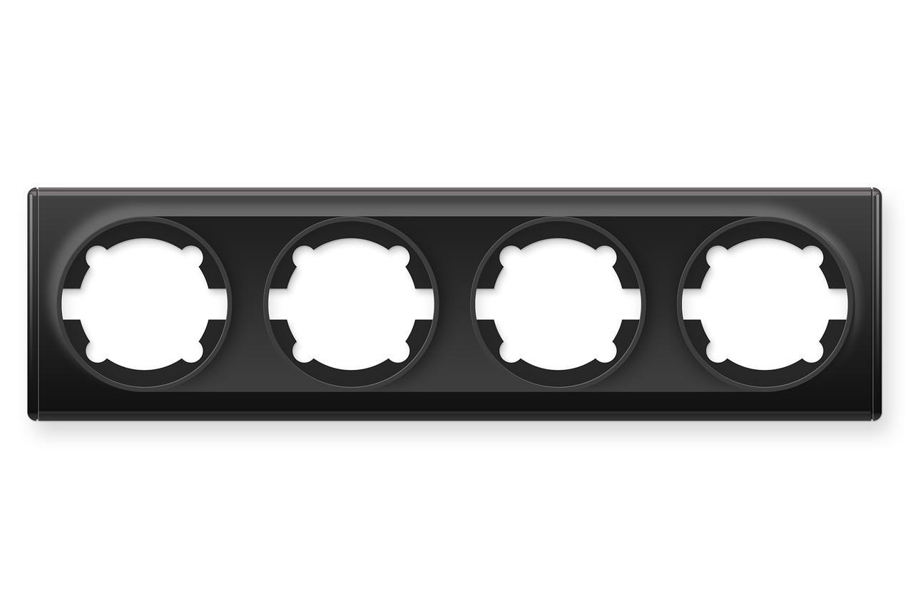 Рамка на 4 прилади, колір чорний (серія Florence)