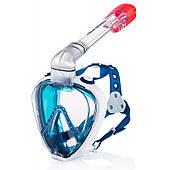 Маска полнолицевая для плавания и ныряния Aqua Speed Prism (original) сине-белая, комплект с трубкой