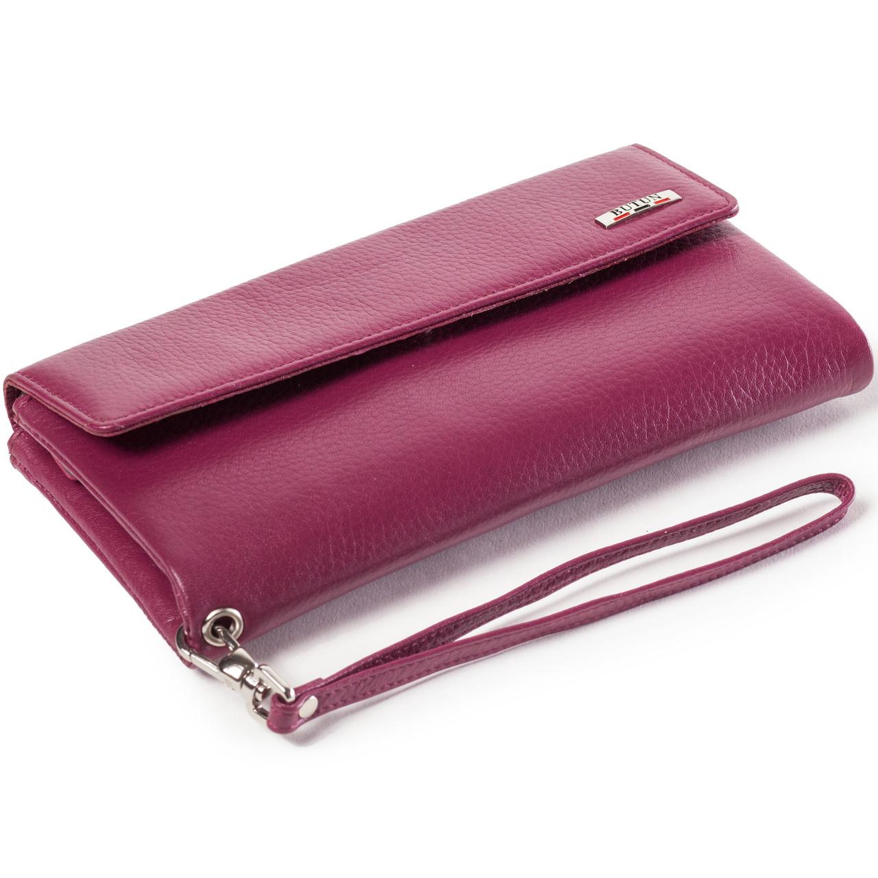 Женский кошелек клатч кожаный марсала BUTUN 624-004-005