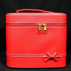 YRE Cosmetic Organizer - Чемодан-бокс с ручкой красный под кожу 59481 большой с зеркалом 24х18х21см