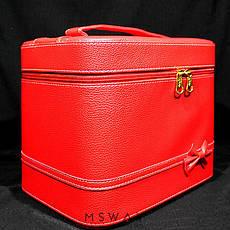YRE Cosmetic Organizer - Чемодан-бокс с ручкой красный под кожу 59481 большой с зеркалом 24х18х21см, фото 2