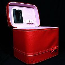 YRE Cosmetic Organizer - Чемодан-бокс с ручкой красный под кожу 59481 большой с зеркалом 24х18х21см, фото 3