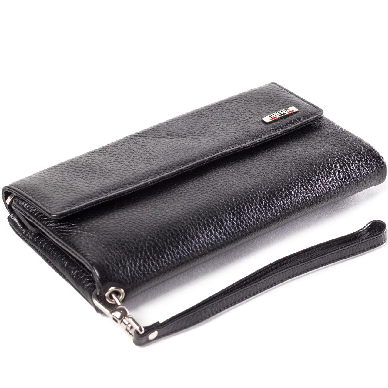 Женский кошелек клатч кожаный черный BUTUN 624-004-001
