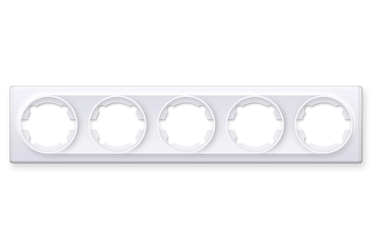 Рамка на 5 приладів, колір білий (серія Florence)
