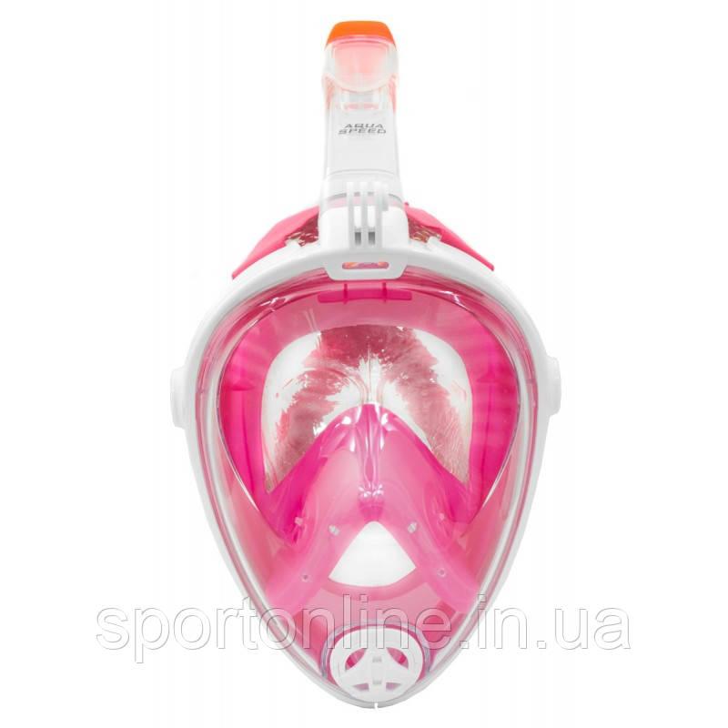 Маска Полнолицевая для плавания и ныряния Aqua Speed Spectra (original) розовая, комплект с трубкой