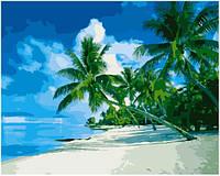 """Раскраска по номерам для взрослых и детей """"Песчаный пляж"""", 40х50 см, Без Коробки"""