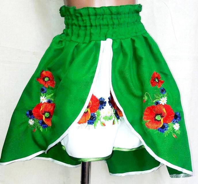 Детская вышитая юбка 4 цвета, 2-12 лет