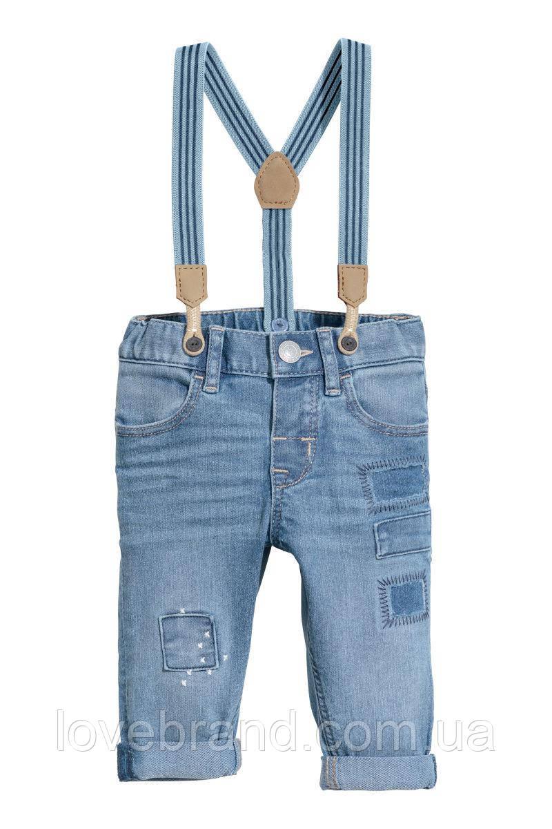 Джинсы на подтяжках H&M для мальчика 2-3 г./98 см