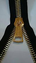 Молния металлическая тип 12 черная основа золото 53см полированн