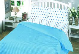 Пике двухспальное летнее постельное белье Perlay AcikMavi
