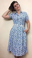 Платье летнее миди с карманами из стрейч-льна П208, фото 1
