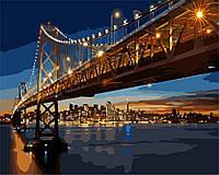 """Раскраска по номерам для взрослых и детей """"Ночной Сан-Франциско"""", 40х50 см, Без Коробки"""