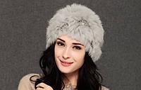 Женская шапка с шерстью кролика