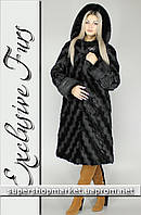Женская шуба из искусственной норки, черный цвет №14