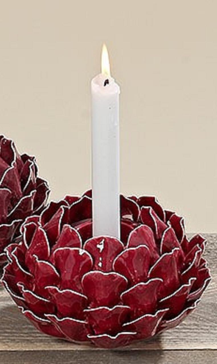 Керамичный свічник Троянда