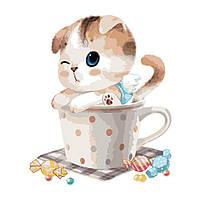 """Раскраска по номерам для взрослых и детей """"Котик в чашке"""", 40х50 см, Без Коробки"""